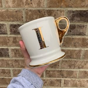 "Anthropologie Gold Chrome/Cream Monogram ""I"" Mug"